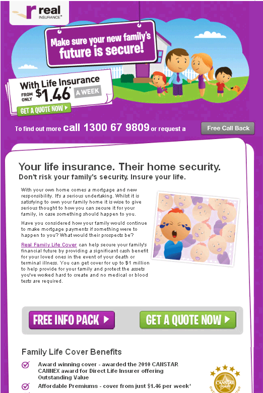 Real Insurance Email Ad